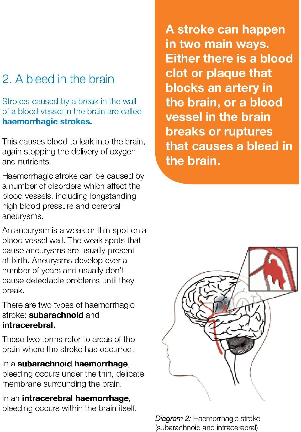Haemorrhagic stroke can be caused by a number of disorders which affect the blood vessels, including longstanding high blood pressure and cerebral aneurysms.