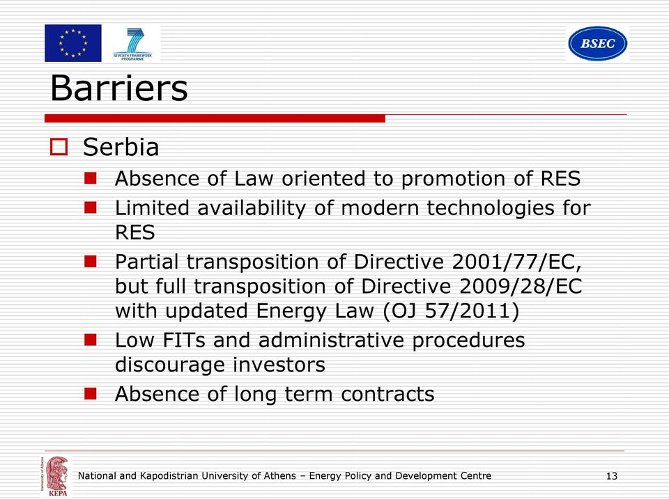 with updated Energy Law (OJ 57/2011) Low FITs and administrative procedures discourage investors Absence