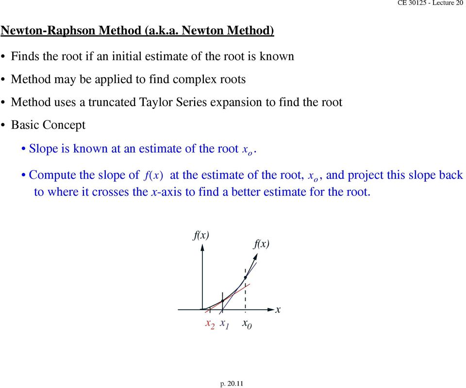 k.a. Newton Method) Finds the root if an initial estimate of the root is known Method may be applied to find