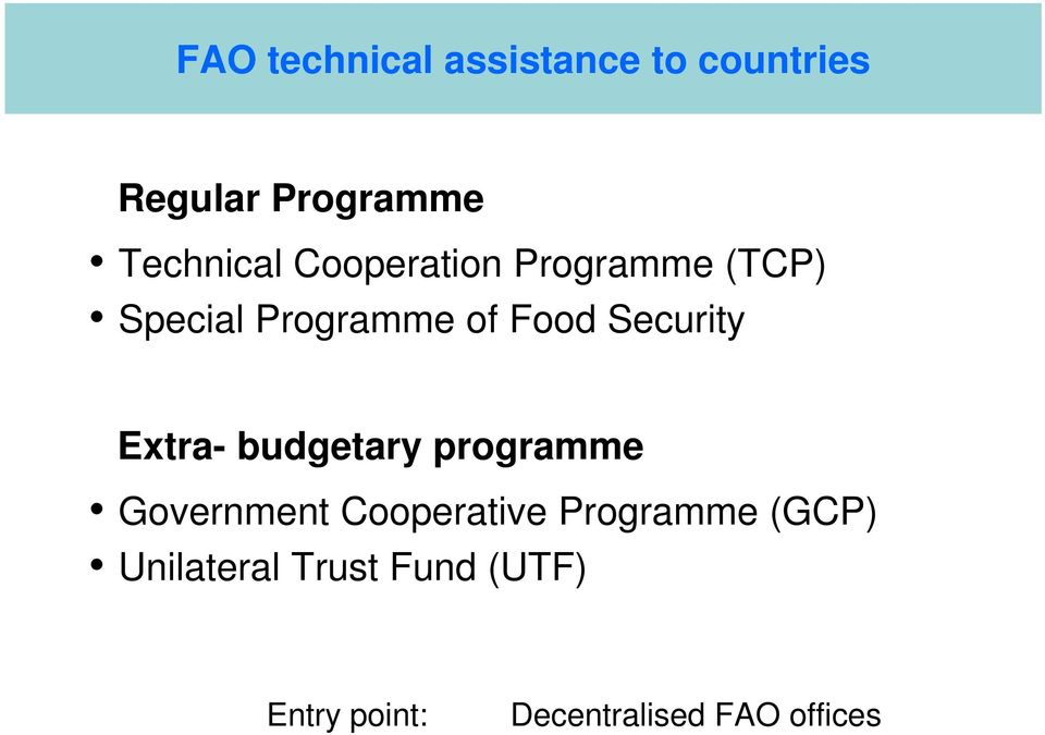 Extra- budgetary programme Government Cooperative Programme (GCP)