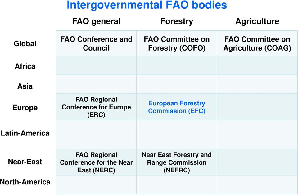 Regional Conference for Europe (ERC) European Forestry Commission (EFC) Latin-America Near-East