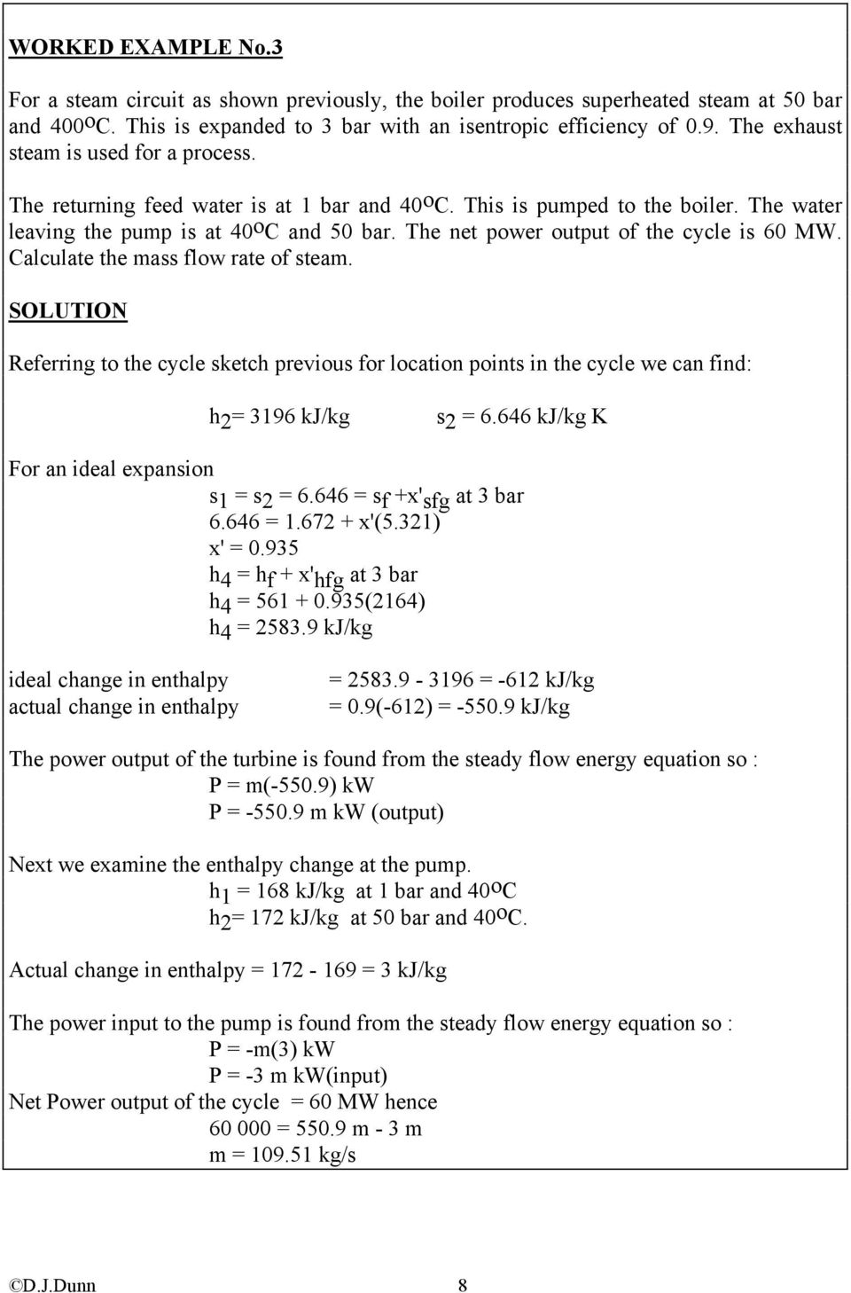 The net power output of the cycle is 60 MW. Calculate the mass flow rate of steam.