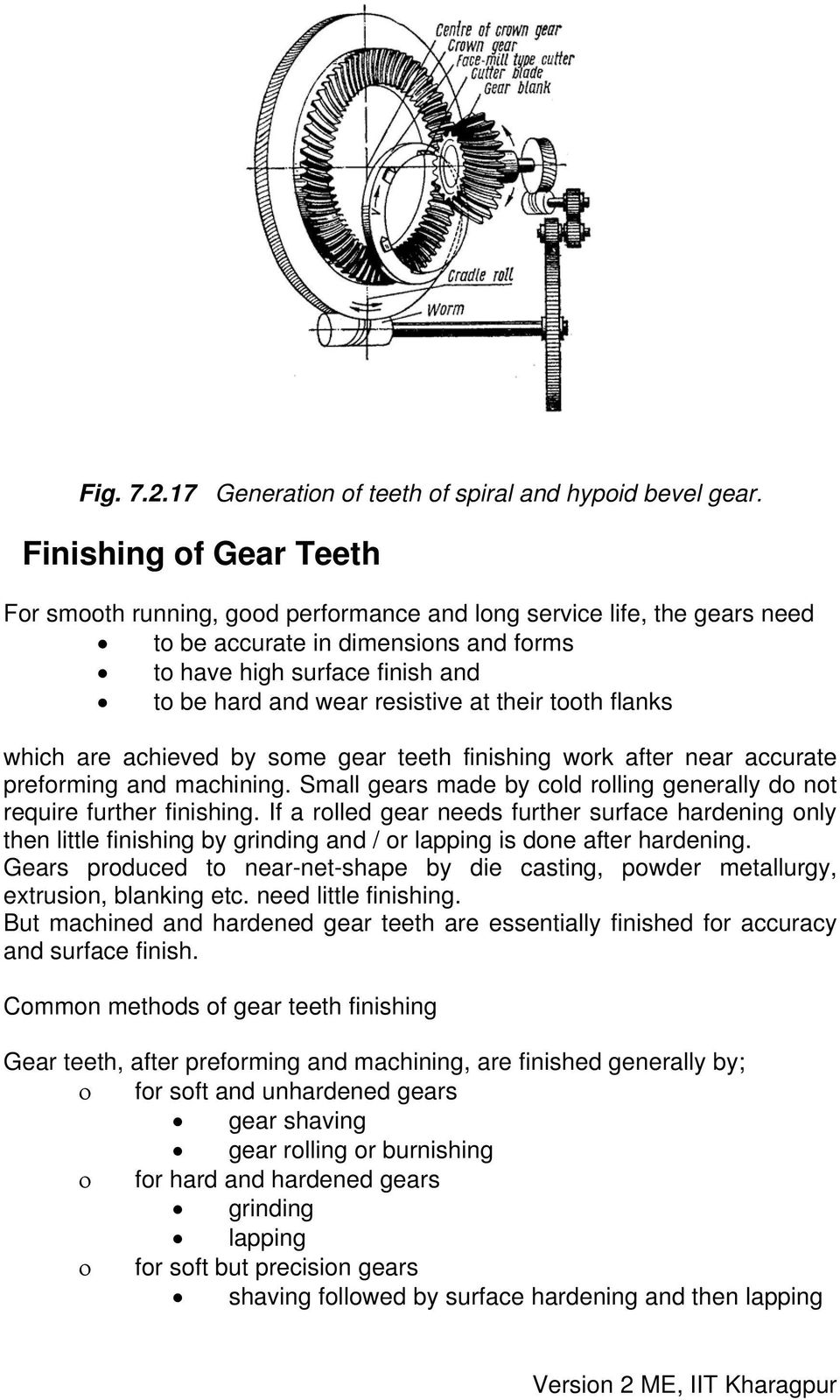 at their tooth flanks which are achieved by some gear teeth finishing work after near accurate preforming and machining. Small gears made by cold rolling generally do not require further finishing.