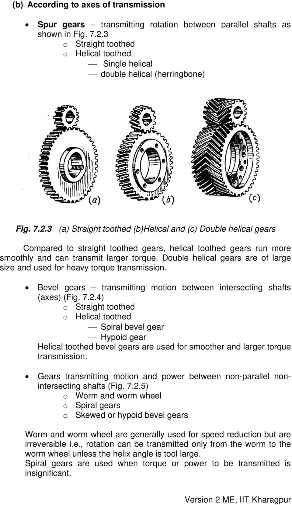 3 (a) Straight toothed (b)helical and (c) Double helical gears Compared to straight toothed gears, helical toothed gears run more smoothly and can transmit larger torque.