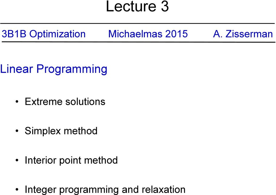 Zisserman Linear Programming Extreme