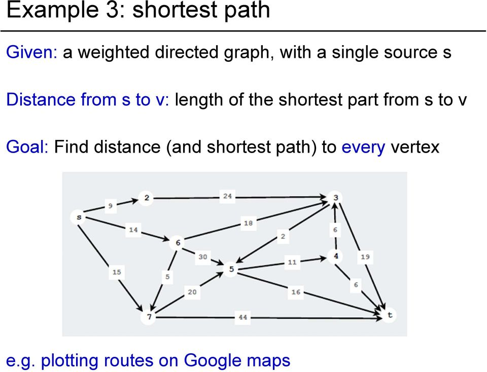 shortest part from s to v Goal: Find distance (and