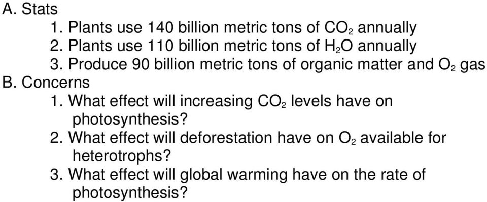 Produce 90 billion metric tons of organic matter and O 2 gas B. Concerns 1.