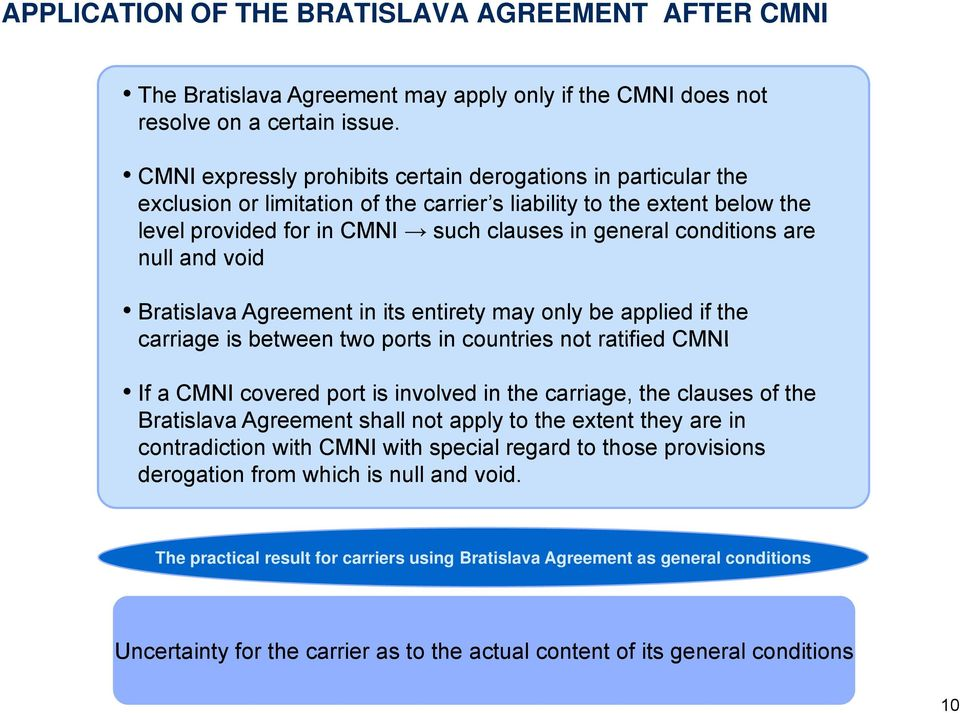 and void Bratislava Agreement in its entirety may only be applied if the carriage is between two ports in countries not ratified If a covered port is involved in the carriage, the clauses of the
