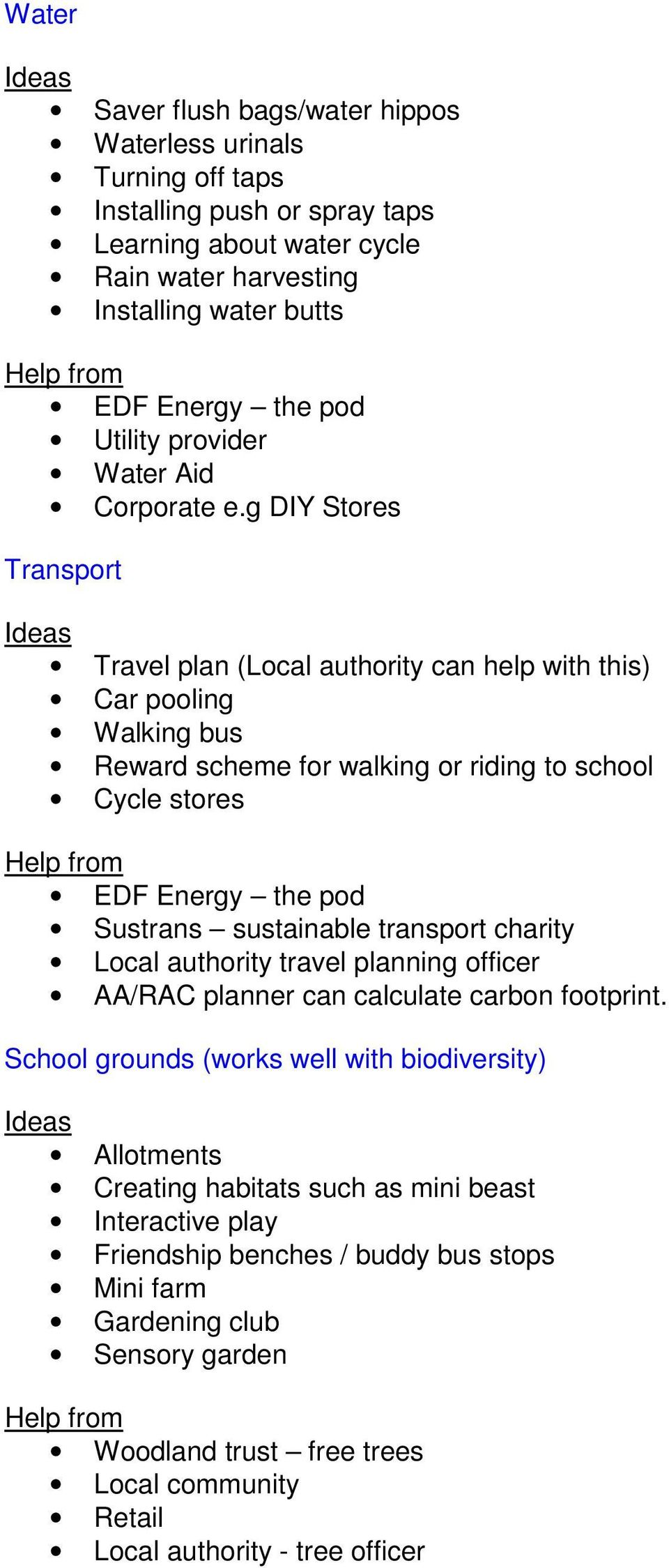 g DIY Stores Transport Travel plan (Local authority can help with this) Car pooling Walking bus Reward scheme for walking or riding to school Cycle stores EDF Energy the pod Sustrans sustainable