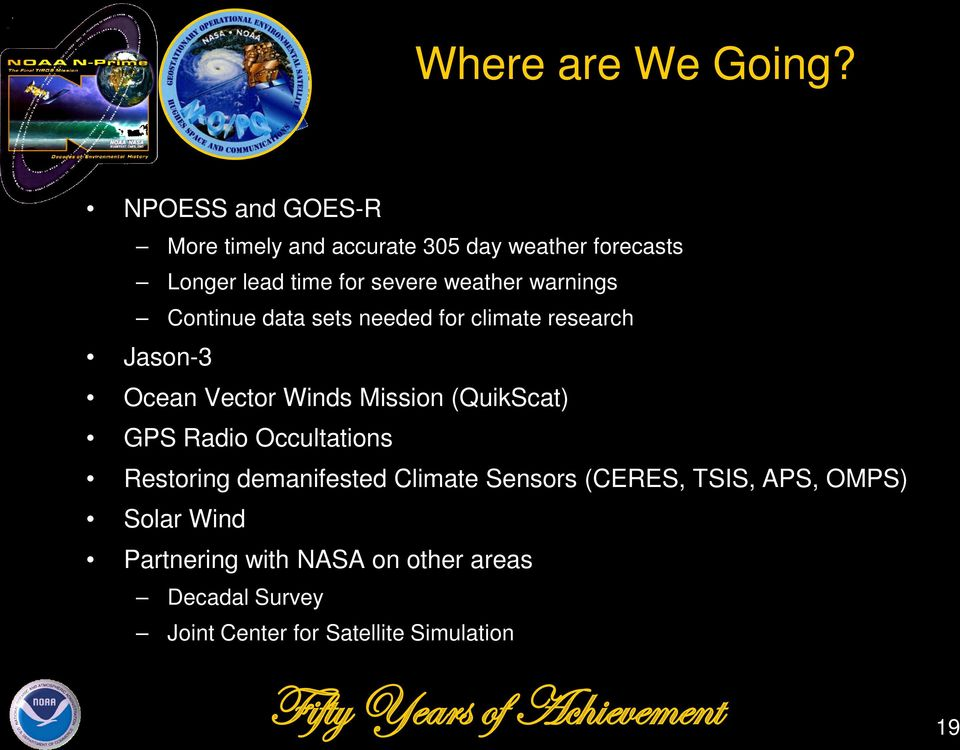 weather warnings Continue data sets needed for climate research Jason-3 Ocean Vector Winds Mission
