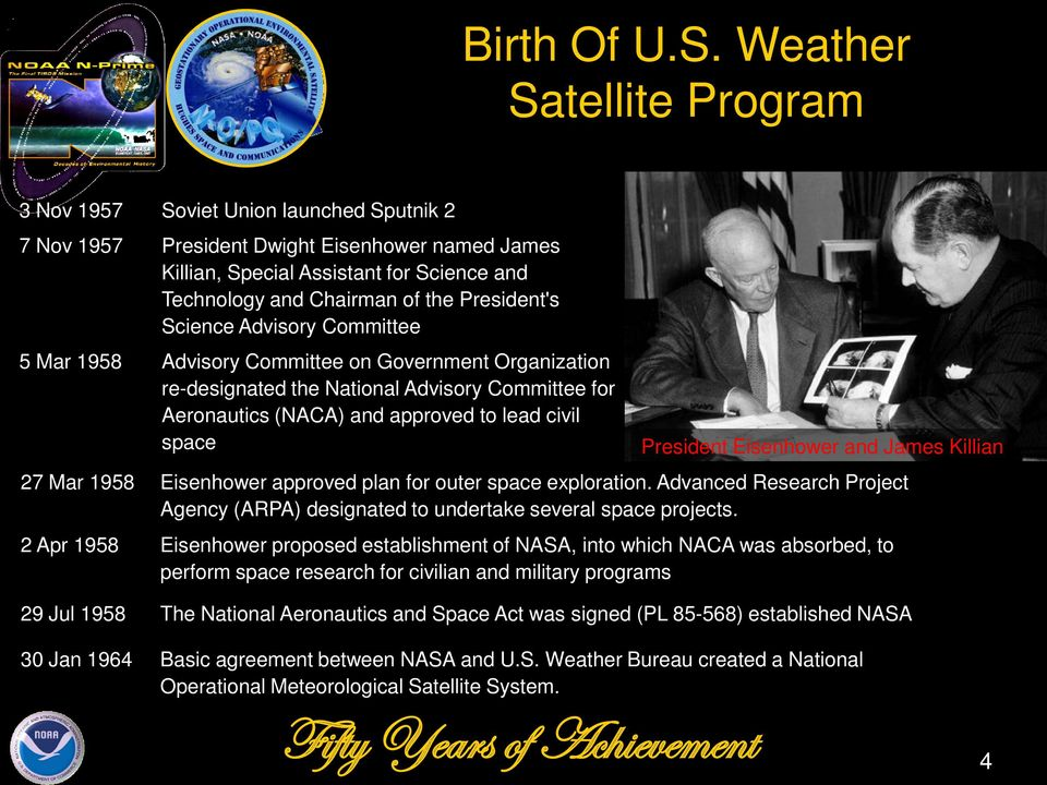 President's Science Advisory Committee 5 Mar 1958 Advisory Committee on Government Organization re-designated the National Advisory Committee for Aeronautics (NACA) and approved to lead civil space