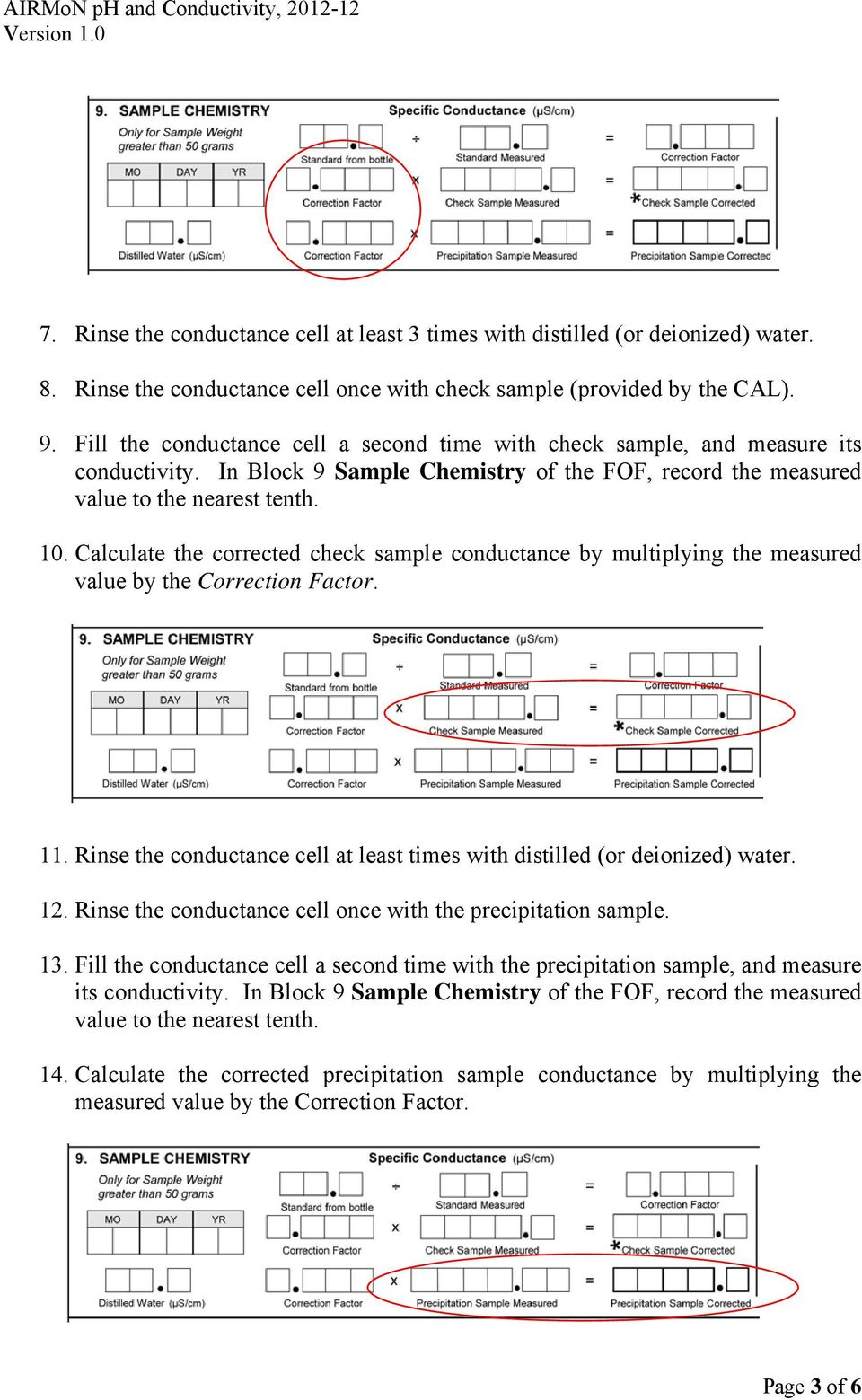 Calculate the corrected check sample conductance by multiplying the measured value by the Correction Factor. 11. Rinse the conductance cell at least times with distilled (or deionized) water. 12.