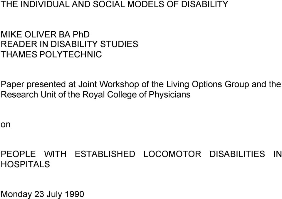Living Options Group and the Research Unit of the Royal College of Physicians