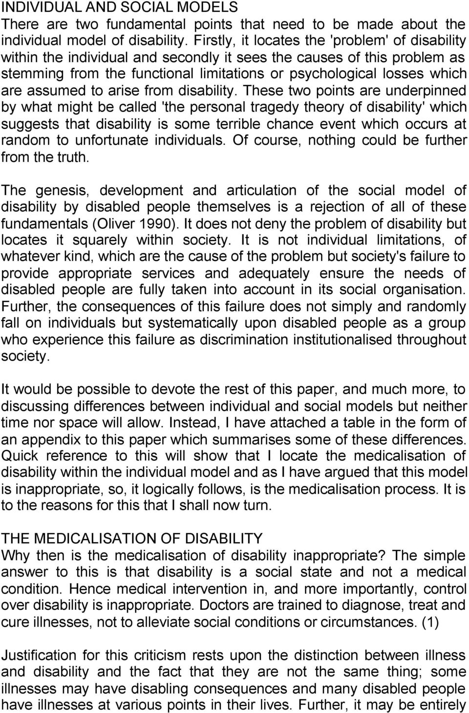 assumed to arise from disability.