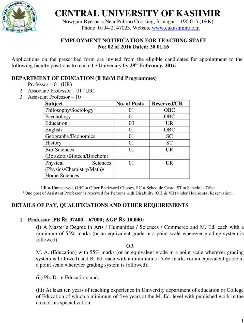 Dated: 30.01.16 Applications on the prescribed form are invited from the eligible candidates for appointment to the following faculty positions to reach the University by 29 th February, 2016.