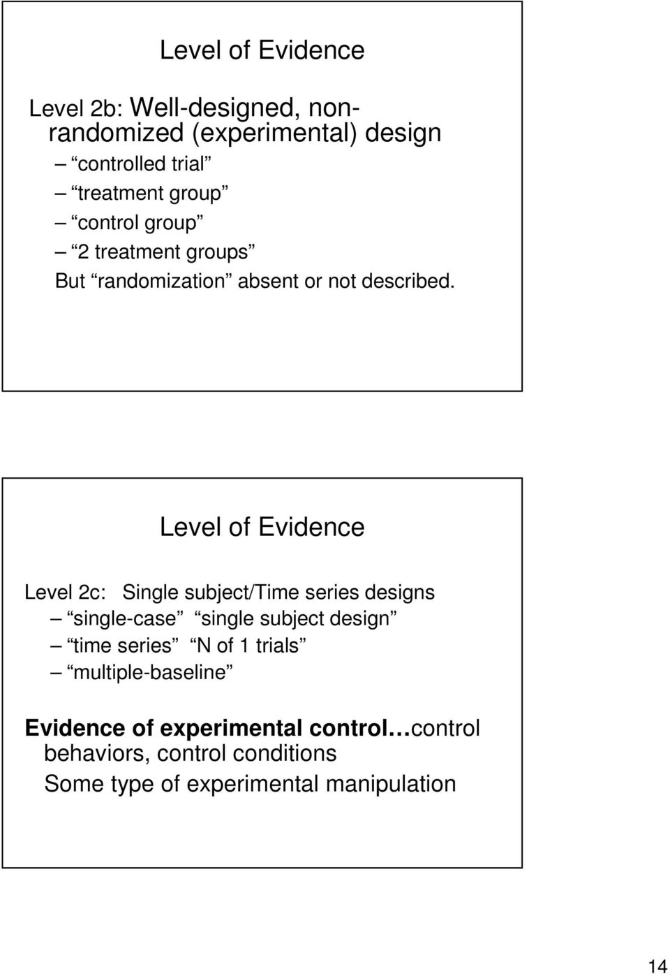 Level of Evidence Level 2c: Single subject/time series designs single-case single subject design time series N