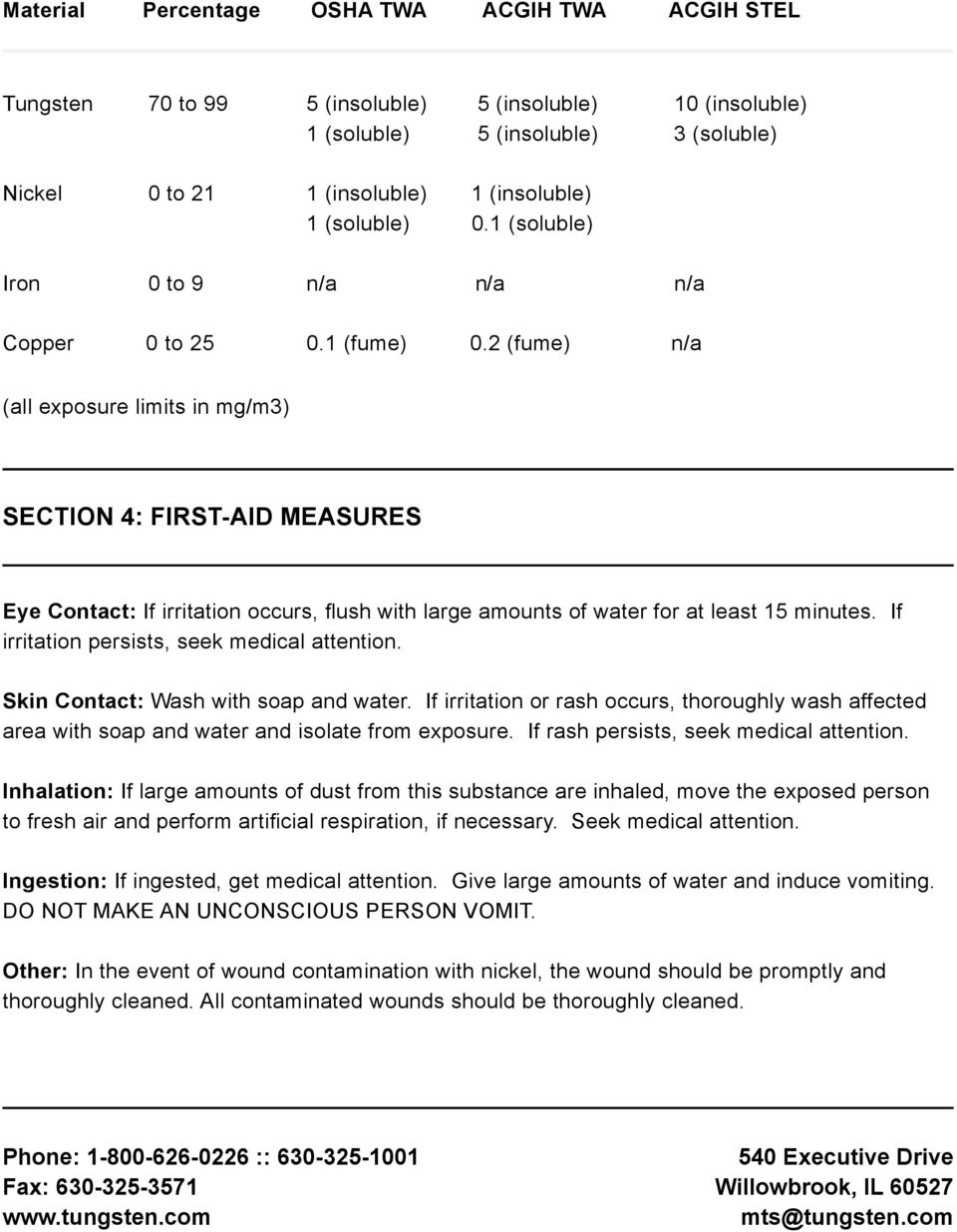 2 (fume) (all exposure limits in mg/m3) SECTION 4: FIRST-AID MEASURES Eye Contact: If irritation occurs, flush with large amounts of water for at least 15 minutes.