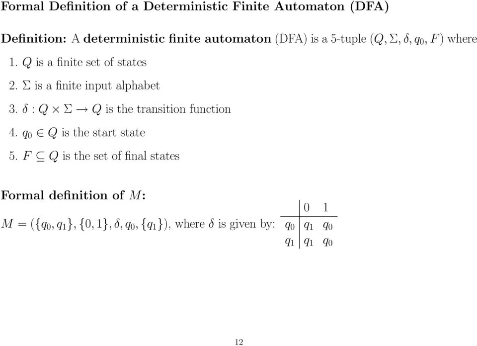 δ : Q Σ Q is the transition function 4. q 0 Q is the start state 5.
