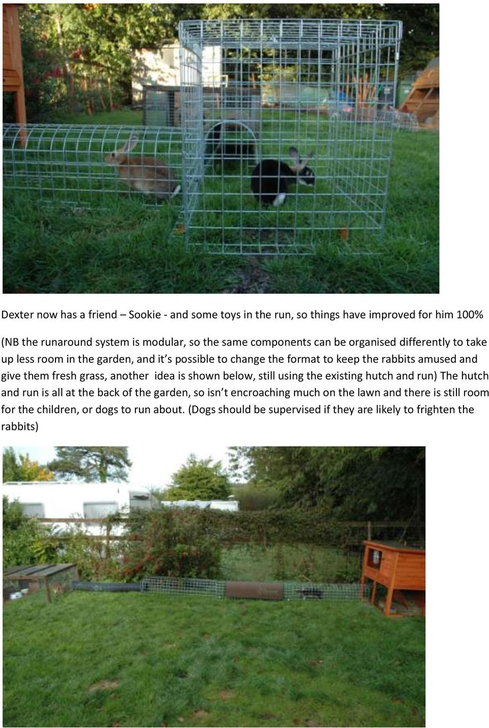 them fresh grass, another idea is shown below, still using the existing hutch and run) The hutch and run is all at the back of the garden, so isn t