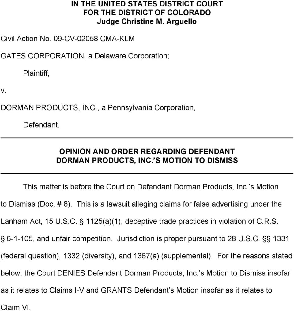 S MOTION TO DISMISS This matter is before the Court on Defendant Dorman Products, Inc. s Motion to Dismiss (Doc. # 8).