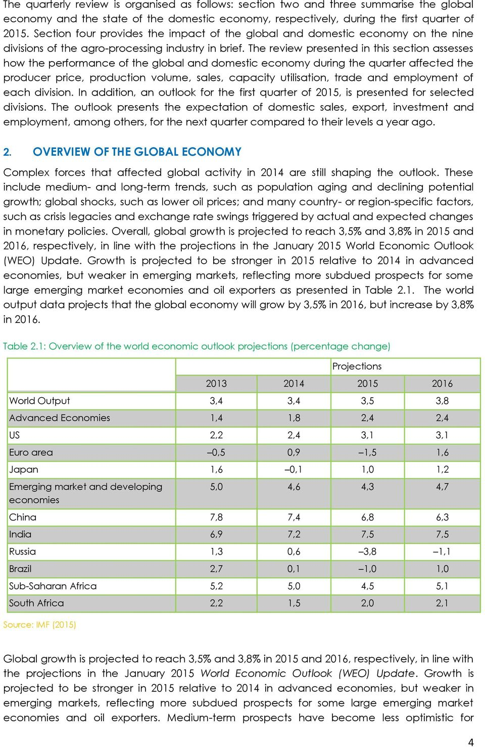 The review presented in this section assesses how the performance of the global and domestic economy during the quarter affected the producer price, production volume, sales, capacity utilisation,