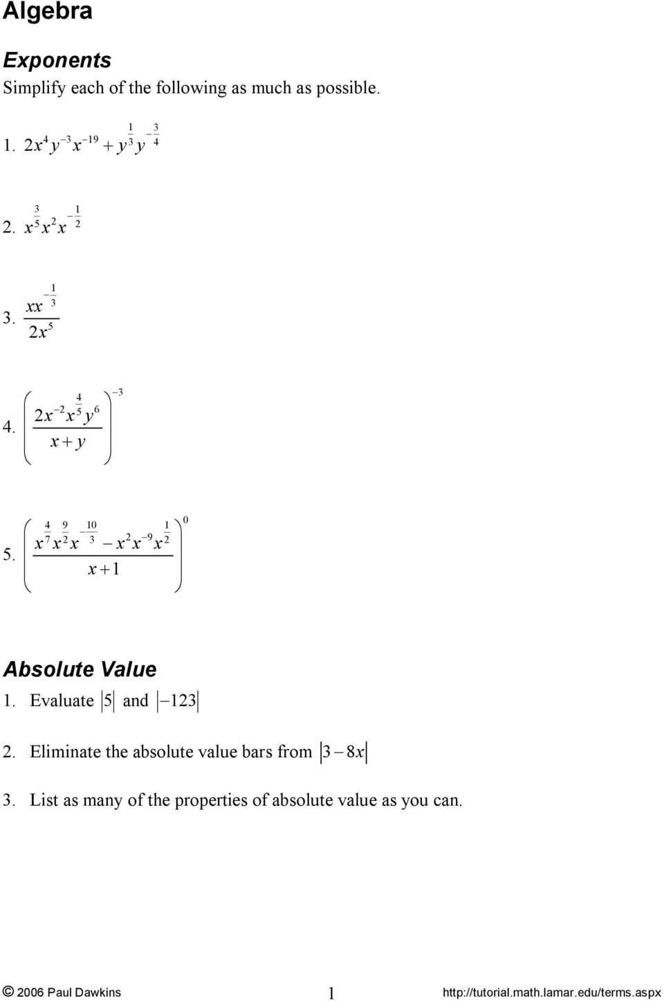 + 1 4 9 10 1 7 9 0 Absolute Value Evaluate 5 and 1.