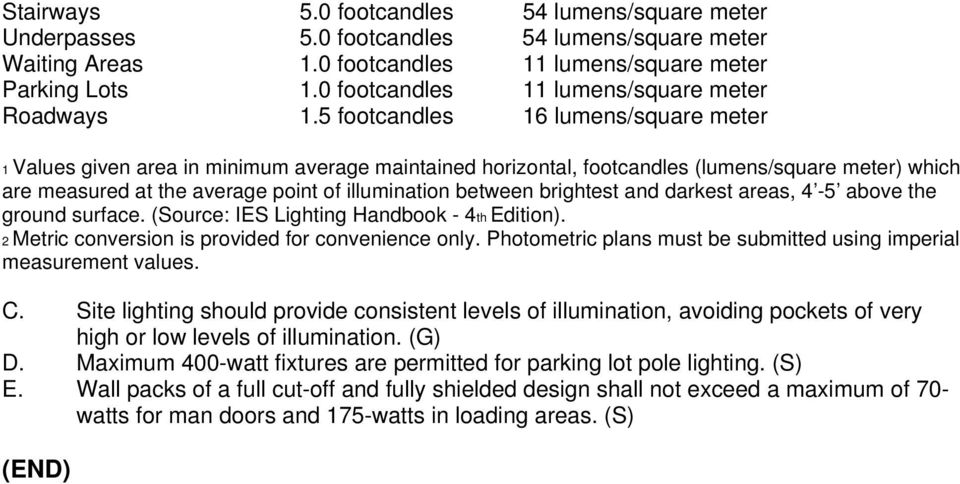 5 footcandles 16 lumens/square meter 1 Values given area in minimum average maintained horizontal, footcandles (lumens/square meter) which are measured at the average point of illumination between