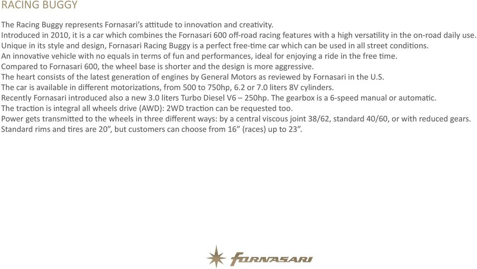 Unique in its style and design, Fornasari Racing Buggy is a perfect free-time car which can be used in all street conditions.
