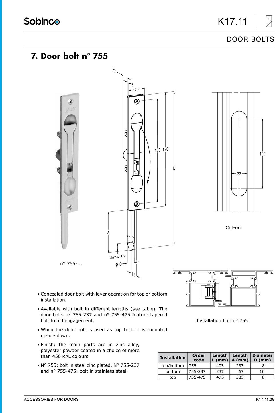 Installation bolt n 755 When the door bolt is used as top bolt, it is mounted upside down.
