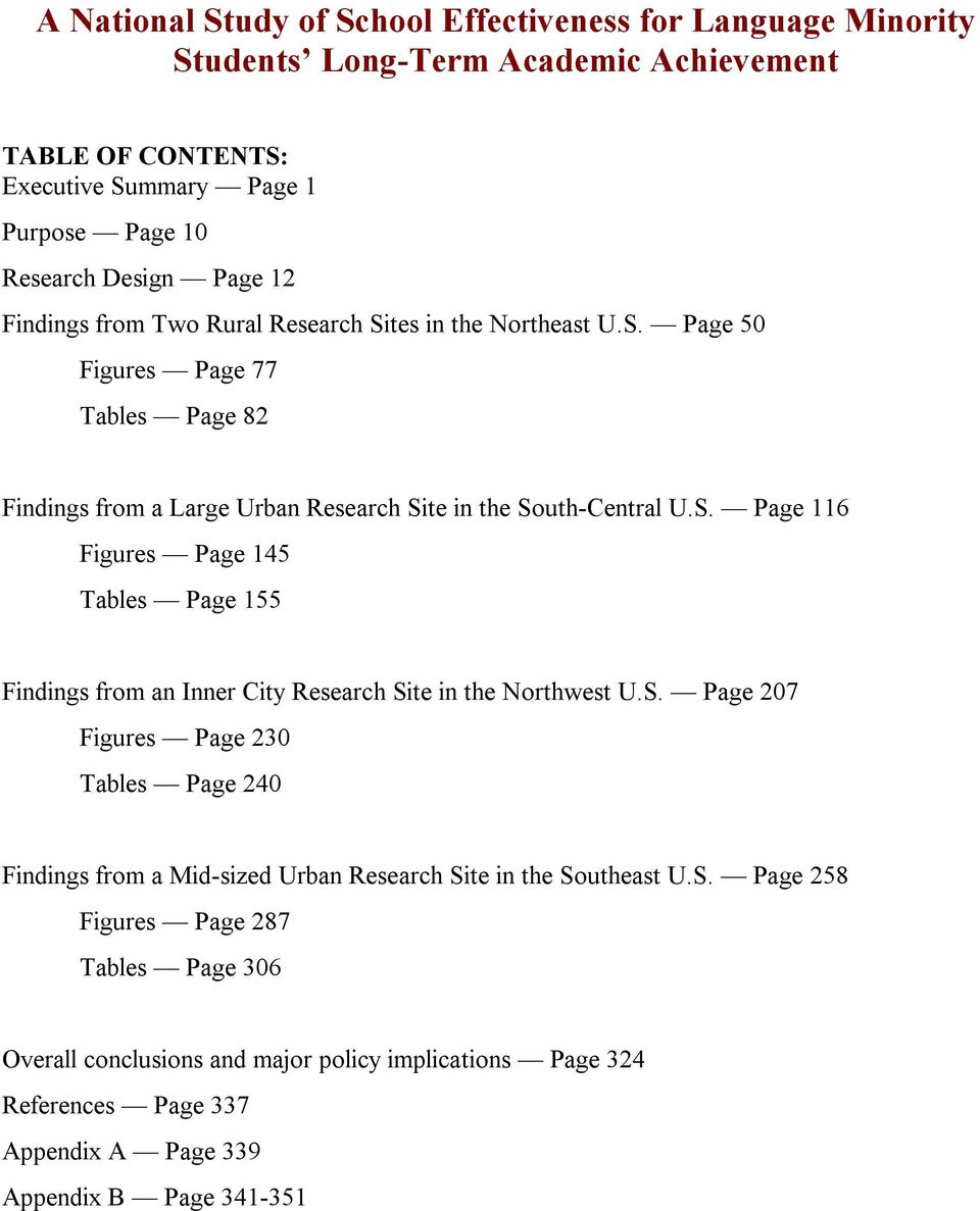 S. Page 207 Figures Page 230 Tables Page 240 Findings from a Mid-sized Urban Research Site in the Southeast U.S. Page 258 Figures Page 287 Tables Page 306 Overall conclusions and major policy implications Page 324 References Page 337 Appendix A Page 339 Appendix B Page 341-351