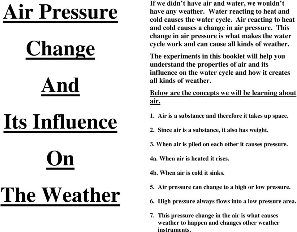 The experiments in this booklet will help you understand the properties of air and its influence on the water cycle and how it creates all kinds of weather.