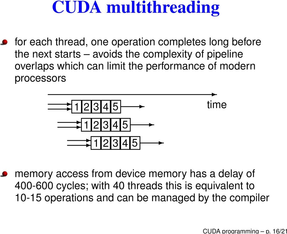 processors 1 2 3 4 5 1 2 3 4 5 1 2 3 4 5 time memory access from device memory has a delay of
