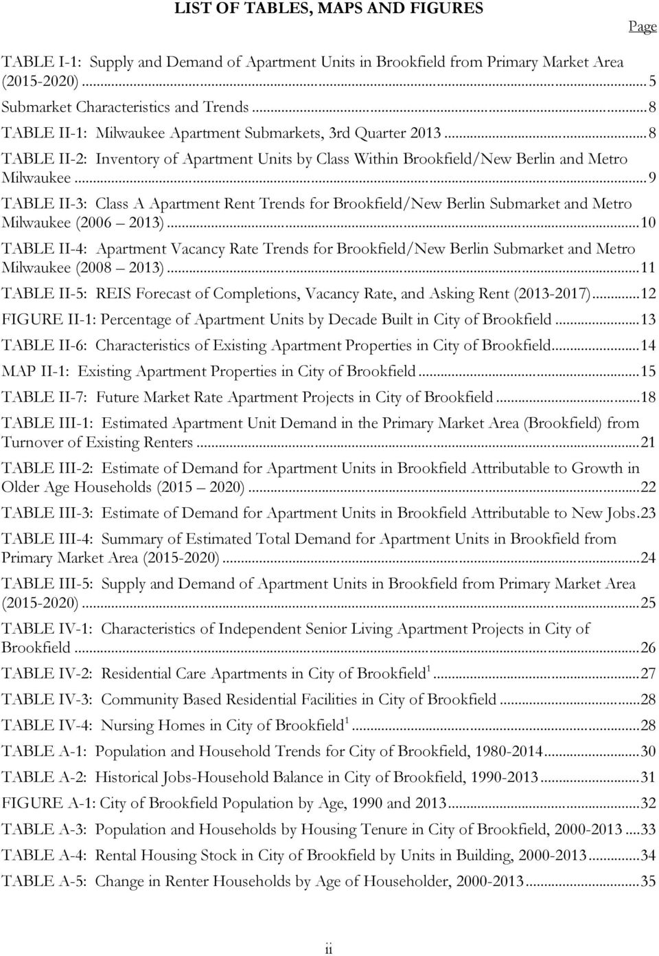 .. 9 TABLE II-3: Class A Apartment Rent Trends for Brookfield/New Berlin Submarket and Metro Milwaukee (2006 2013).