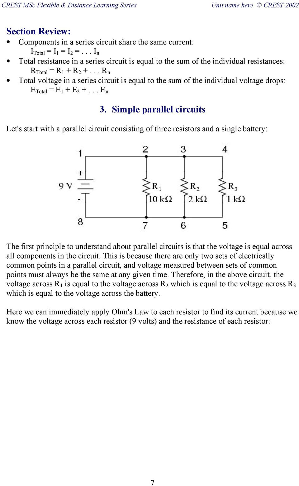 Fb Dc3 Electric Circuits Series And Parallel Pdf Current In R N Total Voltage A Circuit Is Equal To The Sum Of
