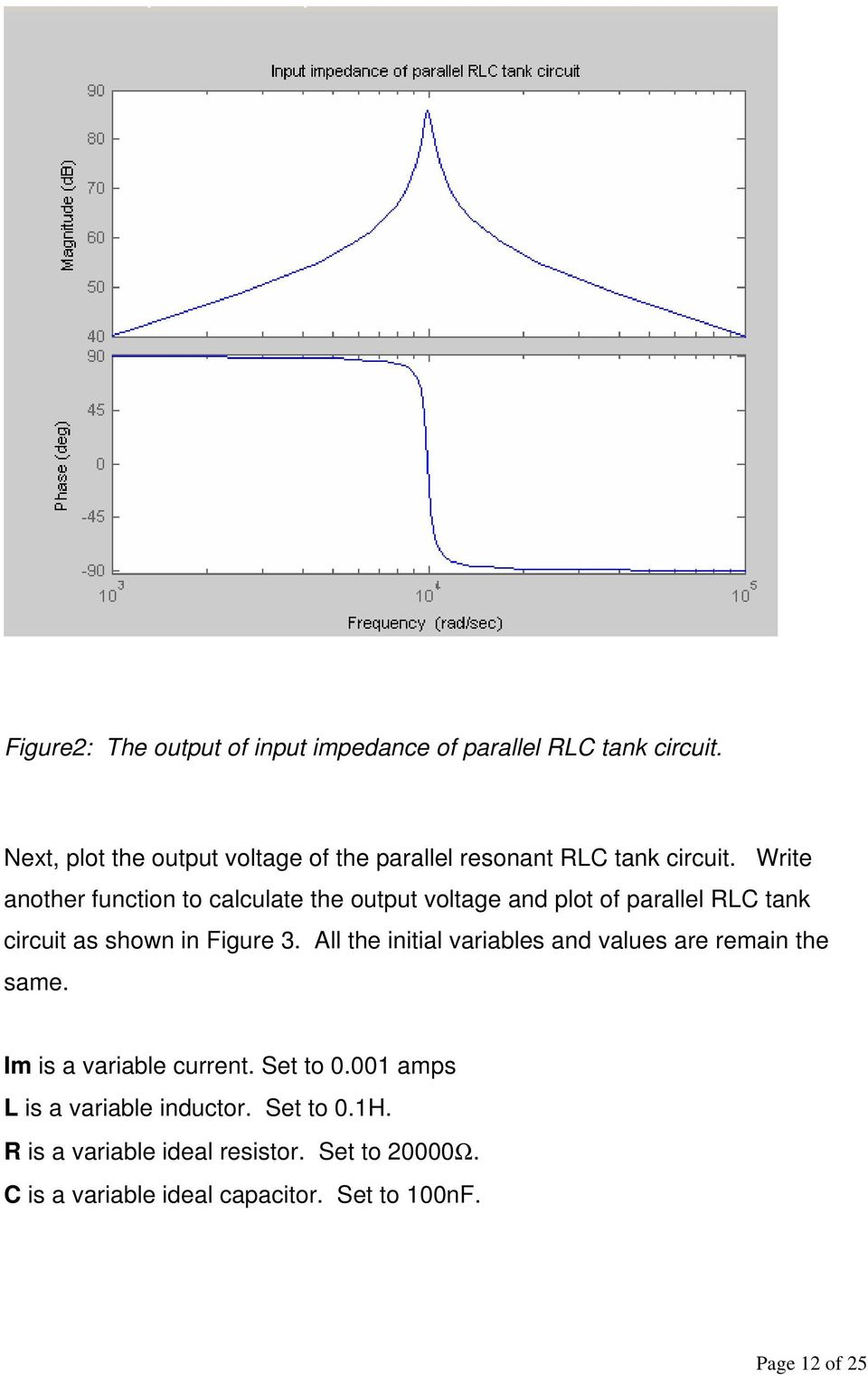 Write another function to calculate the output voltage and plot of parallel RLC tank circuit as shown in Figure 3.