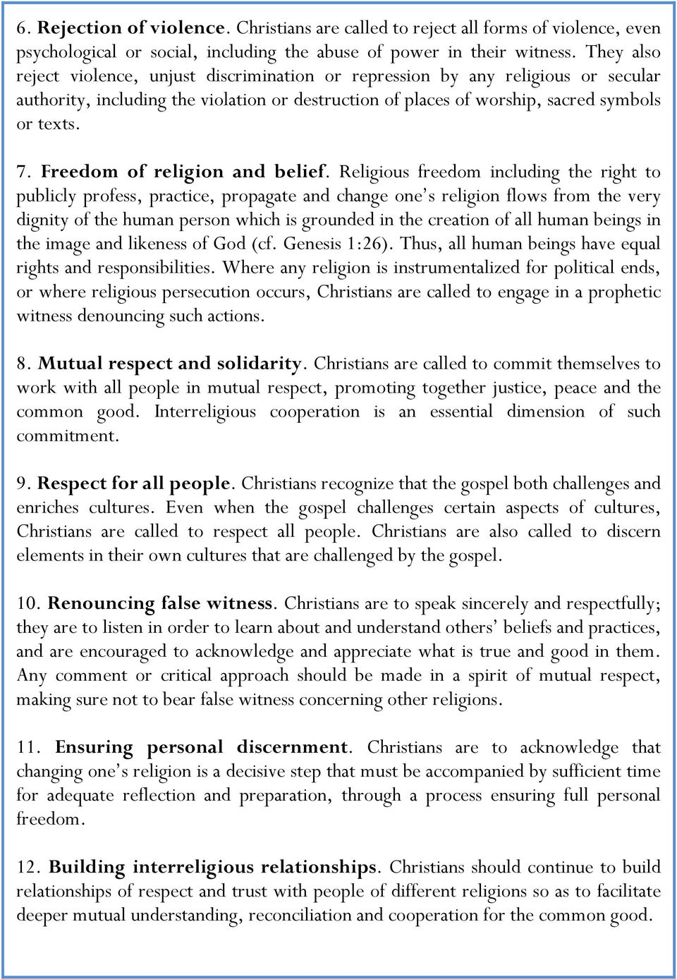 Freedom of religion and belief.