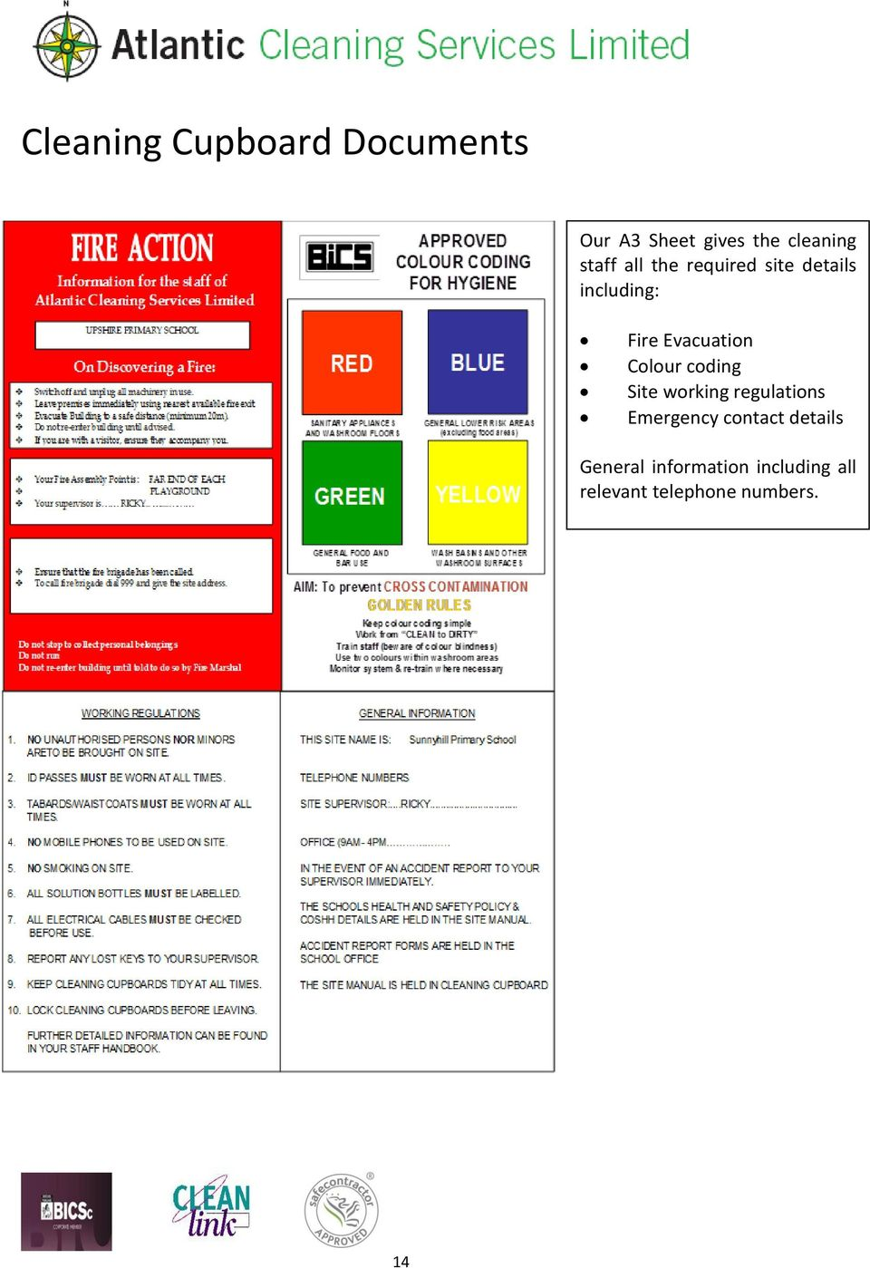 Colour coding Site working regulations Emergency contact