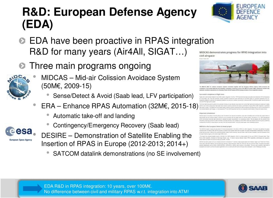 landing Contingency/Emergency Recovery (Saab lead) DESIRE Demonstration of Satellite Enabling the Insertion of RPAS in Europe (2012-2013; 2014+) SATCOM