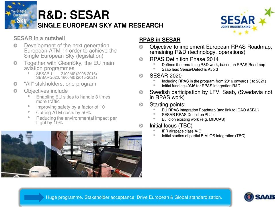 by a factor of 10 Cutting ATM costs by 50% Reducing the environmental impact per flight by 10% RPAS in SESAR Objective to implement European RPAS Roadmap, remaining R&D (technology, operations) RPAS