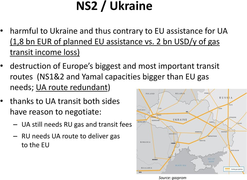 2 bn USD/y of gas transit income loss) destruction of Europe s biggest and most important transit routes (NS1&2