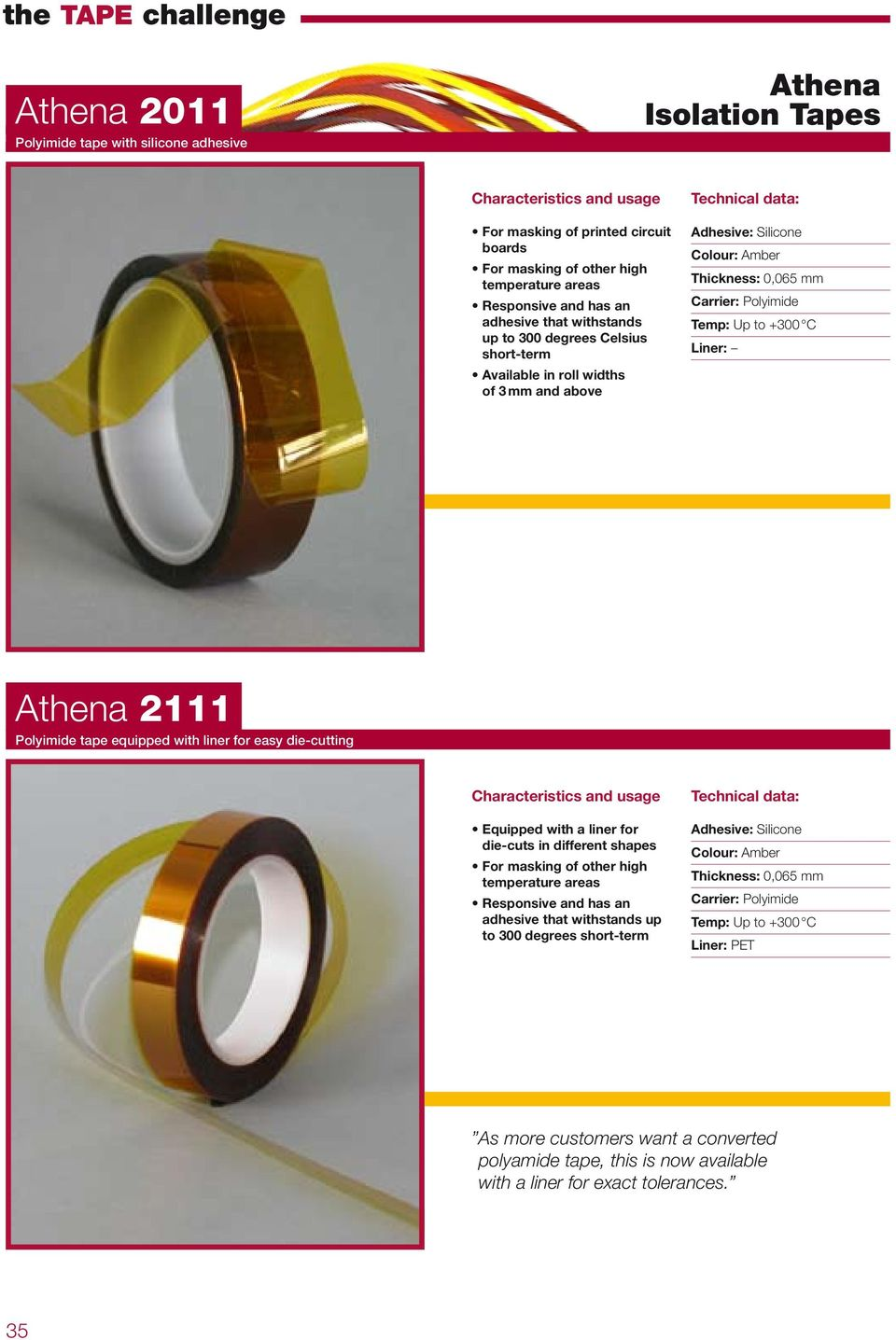 Polyimide tape equipped with liner for easy die-cutting Equipped with a liner for die-cuts in different shapes For masking of other high temperature areas Responsive and has an adhesive that