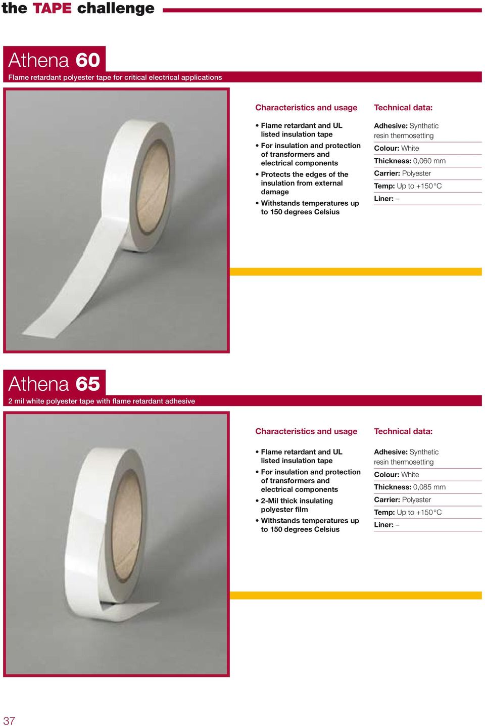 Polyester Temp: Up to +150 C Athena 65 2 mil white polyester tape with flame retardant adhesive Flame retardant and UL listed insulation tape For insulation and protection of transformers and