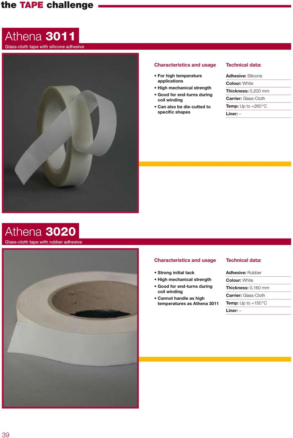 +260 C Athena 3020 Glass-cloth tape with rubber adhesive Strong initial tack High mechanical strength Good for end-turns during coil