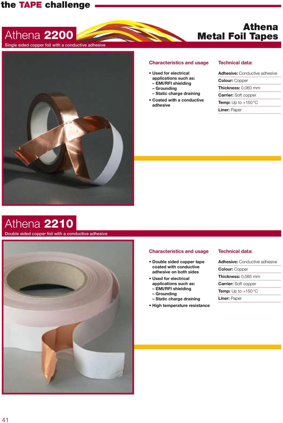 Double sided copper foil with a conductive adhesive Double sided copper tape coated with conductive adhesive on both sides Used for electrical applications such as: