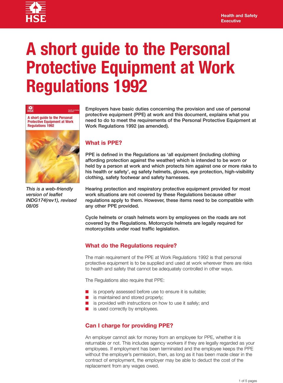 Regulations 1992 (as amended). What is PPE?