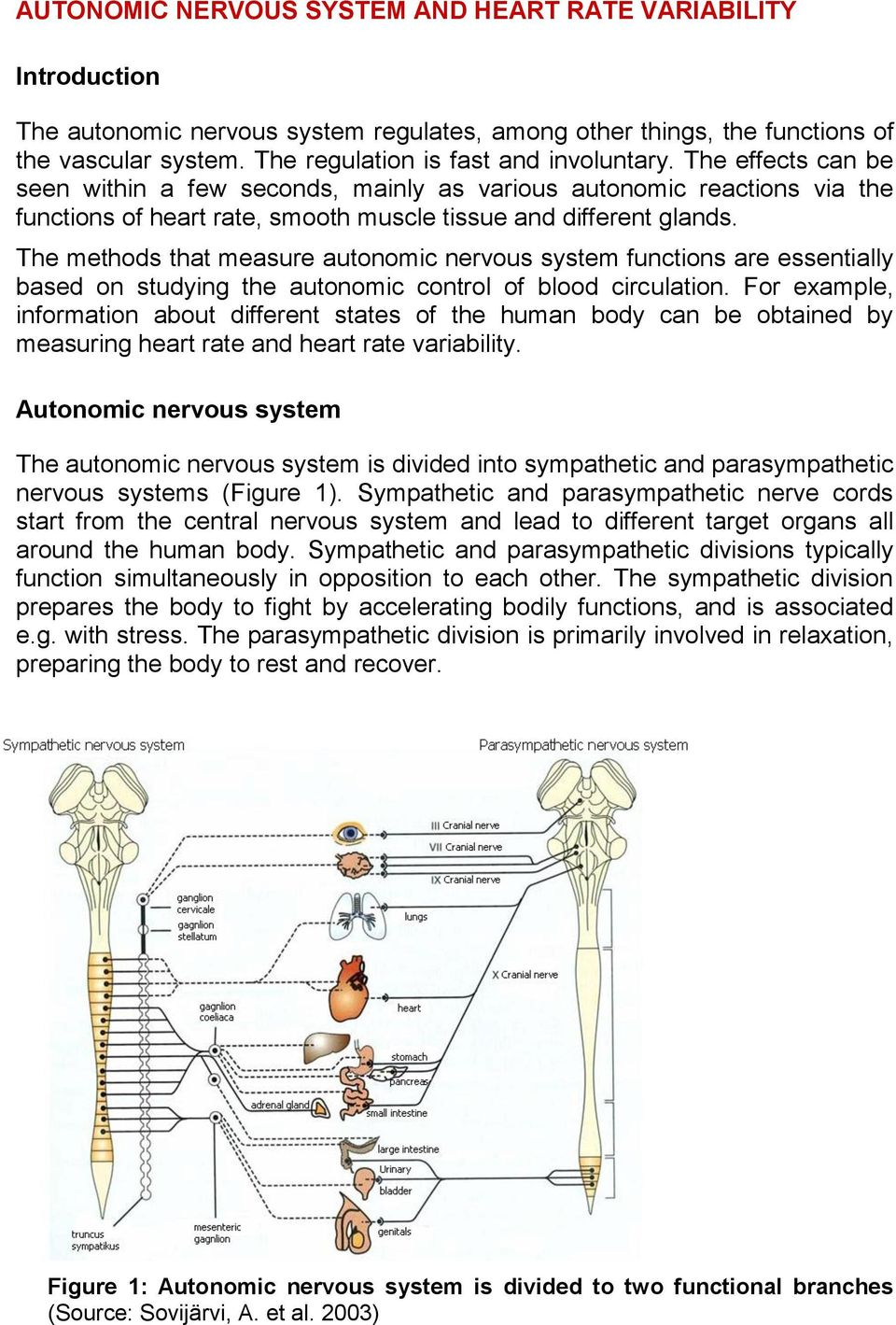 The methods that measure autonomic nervous system functions are essentially based on studying the autonomic control of blood circulation.