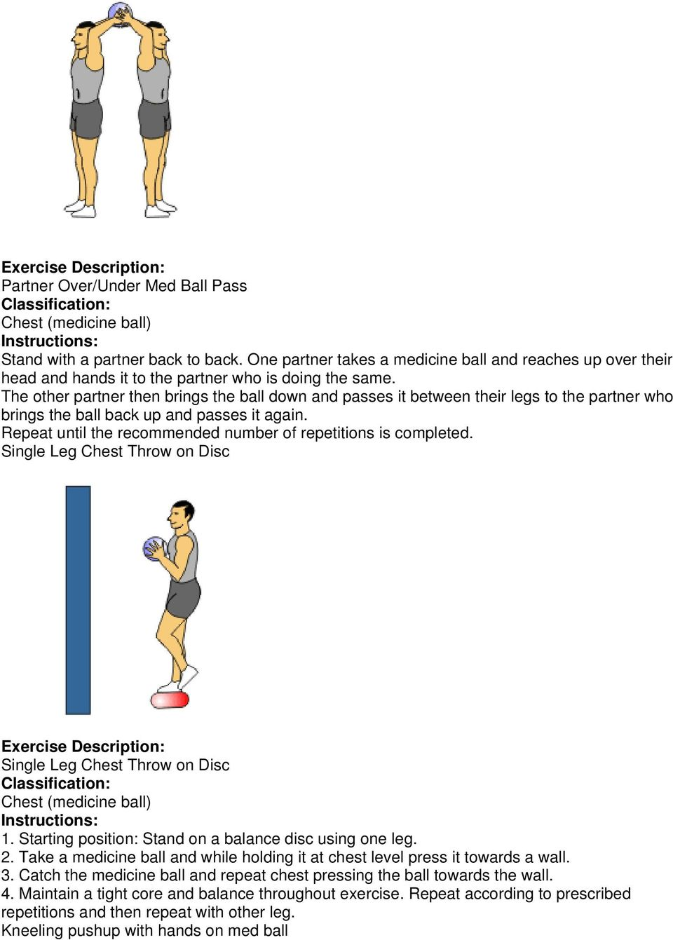Repeat until the recommended number of repetitions is completed. Single Leg Chest Throw on Disc Single Leg Chest Throw on Disc 1. Starting position: Stand on a balance disc using one leg. 2.