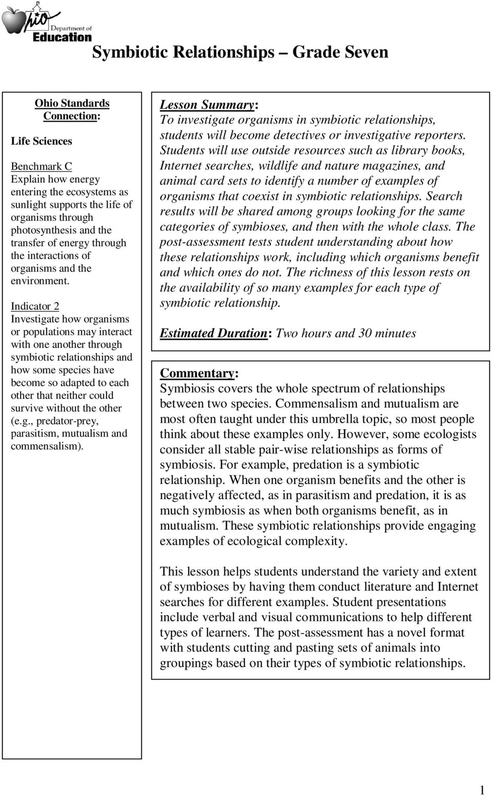 Worksheets Symbiotic Relationships Worksheet symbiotic relationships grade seven pdf indicator 2 investigate how organisms or populations may interact with one another through and