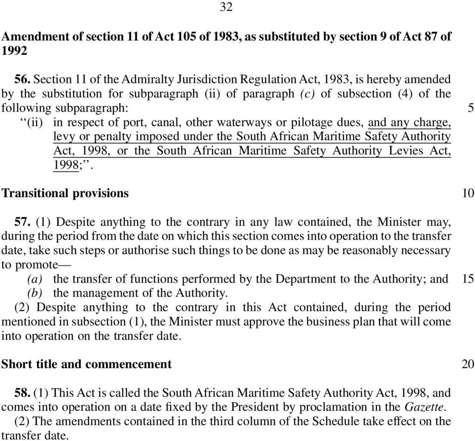 respect of port, canal, other waterways or pilotage dues, and any charge, levy or penalty imposed under the South African Maritime Safety Authority Act, 1998, or the South African Maritime Safety