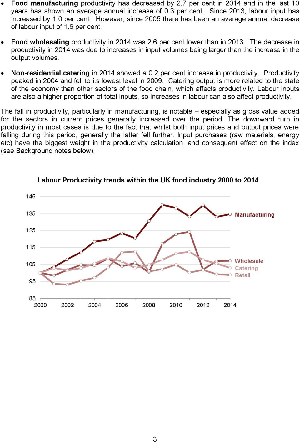 The decrease in productivity in 2014 was due to increases in input volumes being larger than the increase in the output volumes. Non-residential catering in 2014 showed a 0.